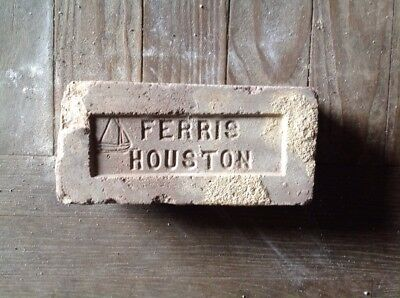 Antique Brick Stamped **** Ferris Houston With Sailboat  ******