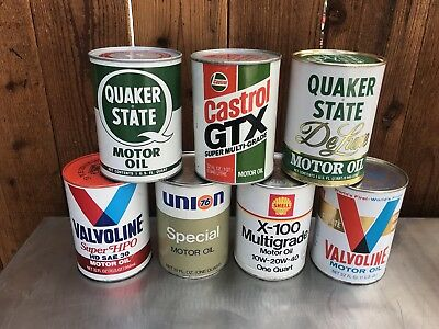 Lot of 7 NOS FULL Vintage Qt. Oil Cans Quaker State Valvoline Shell Castrol 76
