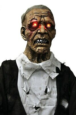 LIFE SIZE ANIMATED CORPSE ZOMBIE Lighted HALLOWEEN PROP HAUNT GRAVEYARD SPIRIT