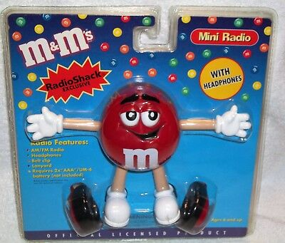 RED M&M Radio Shack Exclusive Mini Radio with Headphones AM FM M&M's NIP