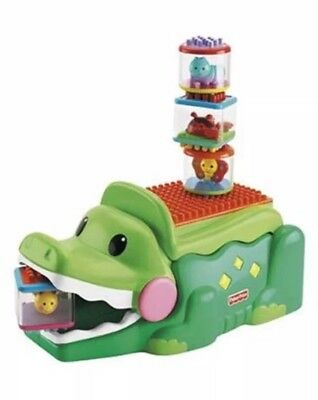 Fisher-Price Baby's Peek a Blocks Builders Stack and Smile Crocodile Shapes Toy