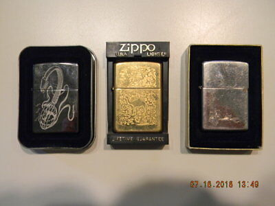 lot of 3 zippo lighters used