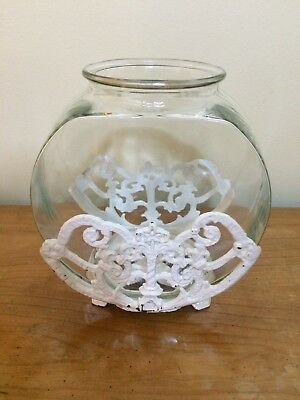 Old Ornate Cast Iron Fish Bowl Stand (Top Only). Old White Paint.