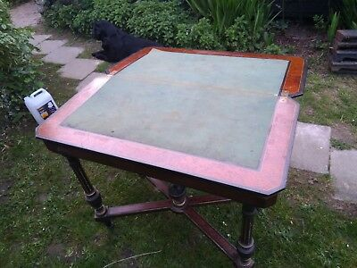 antique card table pick up only.Victorian Boulle Brass Inlaid Card Table c.1880