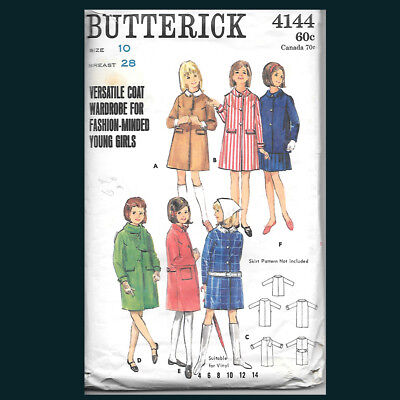 Vintage Butterick Pattern 4144 Girl's Coat in Two Lengths Size 10
