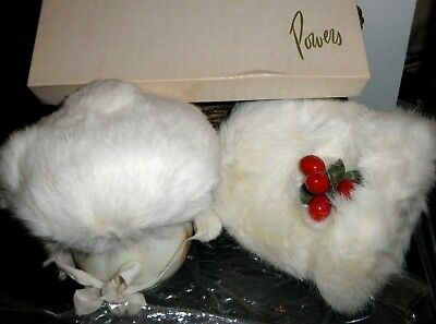Vintage Child's White Rabbit Fur Hand Muff w/Hat From Powers Department Store