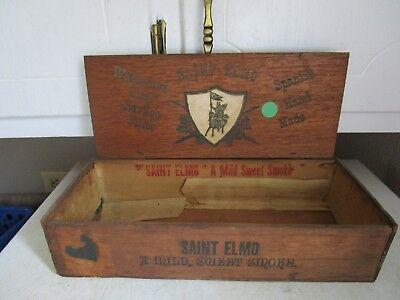 Antique Vintage Wood ADVERTISING CIGAR BOX SAINT ELMO SPANISH MADE