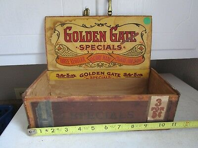 Antique Vintage Wood ADVERTISING CIGAR BOX GOLDEN GATE SPECIALS