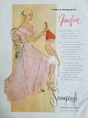 1956 Seamprufe women's pink lingerie redhead girl underwear vintage fashion ad