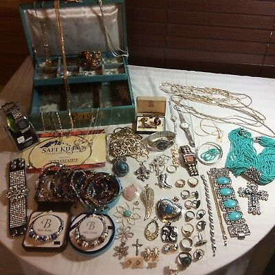 114 Pc Vintage Jewelry Lot 925, 10k 14k, Swarovski, Estate, w/vtg Jewelry box