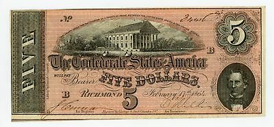 1864 T-69 $5 The Confederate States of America Note - CIVIL WAR Era