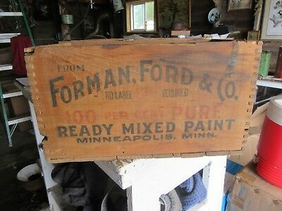 Vintage Heavy Wood Paint Crate Forman Ford & Co. Minneapolis  Lot 18-48-10