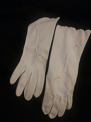 Vintage Pair of Women's White Gloves, Embroidered, Hand Embroidered and Hemmed
