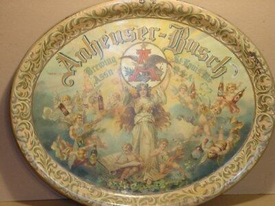 Rare Early Antique Vintage Large 1906 Anheuser Busch Cherubs Beer Tray * NR