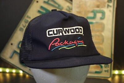 Vintage Curwood Packaging Mesh Trucker Snapback Hat Baseball Cap Blue Retro