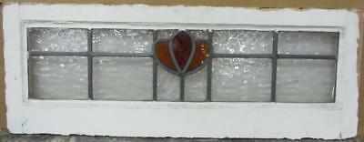 "MID SIZED OLD ENGLISH LEADED STAINED GLASS WINDOW Cute Simple Floral 32"" x 12"""