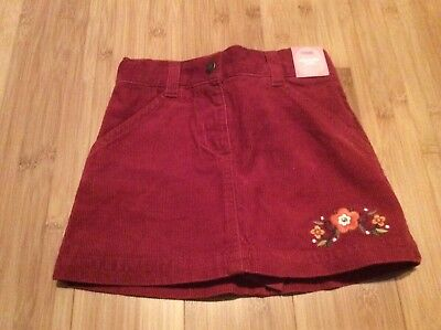New girls size 3 Gymboree burgundy corduroy skirt with undershort with flowers