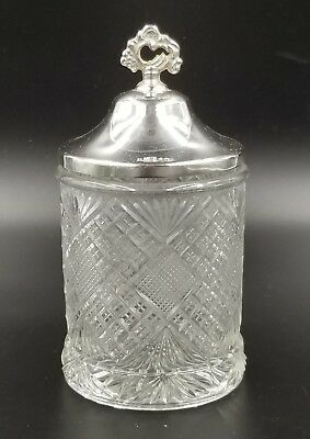 ANTIQUE CUT GLASS PICKLE JAR SILVER PLATED LID b