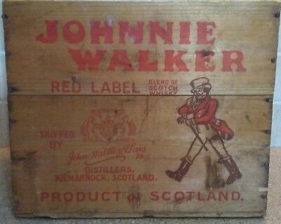 Johnnie Walker Red Label Wood Crate Antique Liquor Box ( NR )