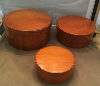 "GREAT Vintage Nesting Set of 3 Nesting Shaker Style Wood Boxes 8"", 7.25"", 5.25"""