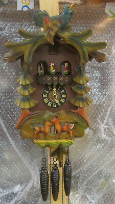 Emil Schmeckenbecher BLK Forest CUCKOO CLOCK WITH CAROUSEL & DANCERS  Musical