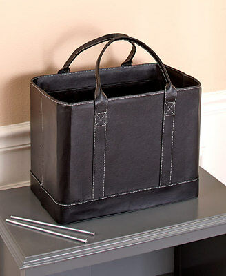 Black Faux Leather Chic File Organizer Tote Portable Documents Folder Carrier