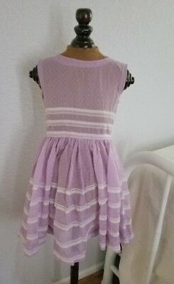 VINTAGE 1950-60s Purple SUMMER DRESS SEERSUCKER w/ White Lace Trim Handmade