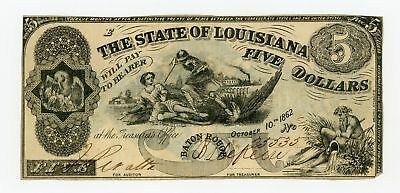 "1862 Cr.10 $5 State of LOUISIANA ""South Strikes Down Union"" Note - NO RESERVE!"