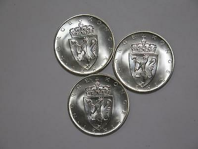 3- Norway 1964 10 Kroner Constitution Comem Silver Gem World Coin Collection Lot