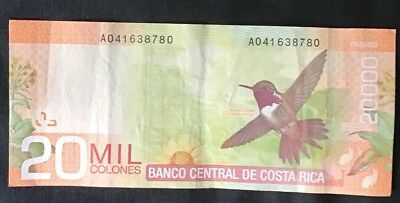 20,000 Costa Rican Colones Currency Banknote With Hummingbird And Flora