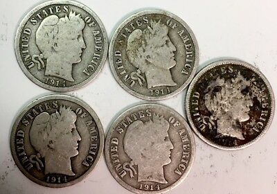 1914 BARBER DIME LOT of (5) - 1914-P 1914-D- 90% SILVER - see pictures