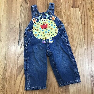 Handmade Monster Creature Blue Jean Overalls Silly Monsters 6 Months AH