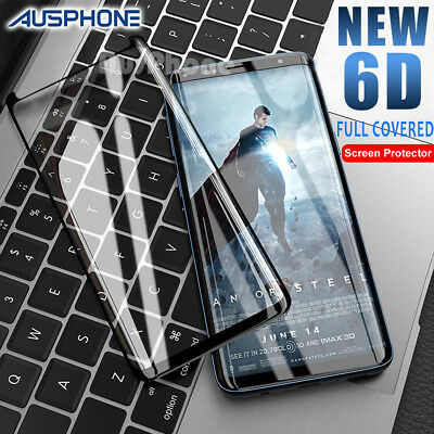 6D FULL COVER Tempered Glass Samsung Galaxy S9 S8 Plus Note 9 8 Screen Protector