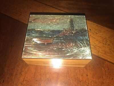 Vintage Cedar Wood Cedar Box Hand Painted White House Padre Island,Texas 5x2