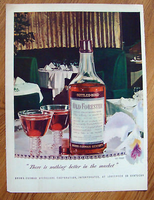1947 Old Forester Whiskey Ad - Dinning Theme