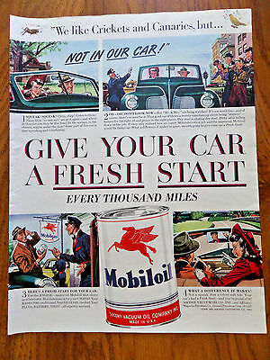 1941 Mobil Mobiloil Ad Like Crikets Canaries but Give your Car a Fresh Start