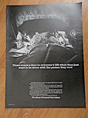 1968 Sony TV Television Ad Sony Personal TV Along in Bed Person they Love