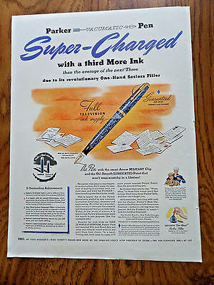 1941 Parker Fountain Pen Ad  Vacumatic Super-Charge with a third more Ink