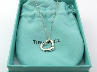 Authentic TIFFANY & CO Sterling Silver Open Heart with Two Diamonds Necklace