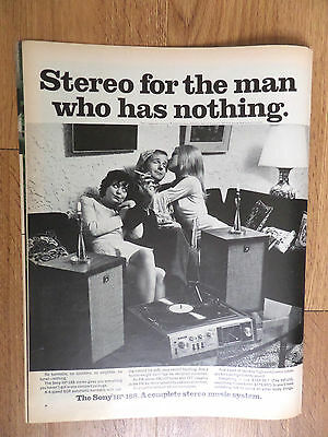 1969 Sony HP-188 Stereo Phonograph Ad  For the Man who has Nothing