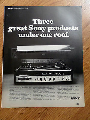 1971 Sony Stereo Phonograph FM AM Tuner Ad