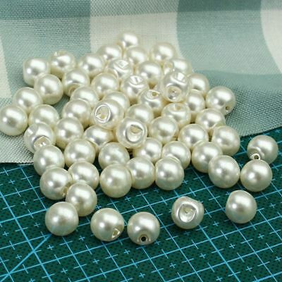 50Pcs 8mm 12mm Pearl Buttons White Sewing Buttons for Garment DIY Scrapbooking