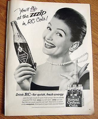 1965 RC Royal Crown Cola Ad  Flip at the ZZZIP  Lady in Pearls