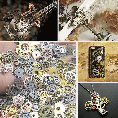 100g Watch Parts Arts Craft Jewellery Clock Making Cogs and Gears Steampunk Set