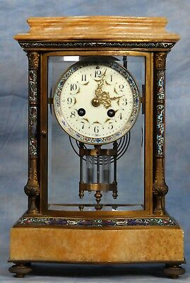 French Cloisonne Champleve Bronze Sienna Marble Crystal Regulator Clock 19 Cent