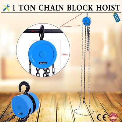 1 Ton Chain Block Hoist Heavy Duty Tackle Engine Tools Lifting Pulley UK