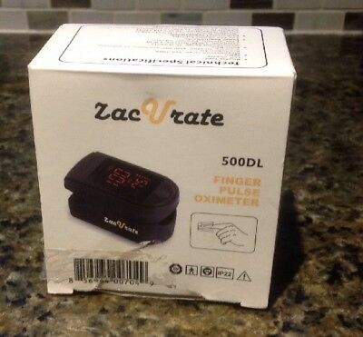 ZacVrate Finger Pulse Oximeter 500DL Jet Black LED Display NEW!