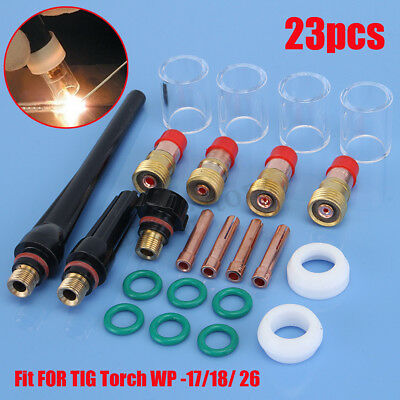23PCS TIG Welding Torch Gas Lens Parts Pyrex Cup Kit For WP Tungsten WP-17/18/26