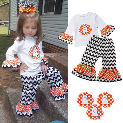 US Toddler Baby Girls Halloween Outfits T-shirt+Striped Pants 2PCS Outfits Set