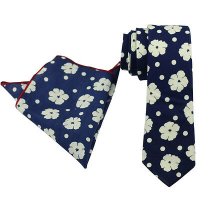 Coachella Ties Navy Blue White Floral Cotton Necktie/Pocket Square Skinny Tie